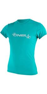 2020 O'Neill Dames Basic Skins Rash T-shirt Met Korte Mouwen 3547 - Licht Aqua
