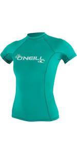 2020 O'Neill Dames Basic Skins Crew Rash Vest Met Korte Mouwen 3548 - Licht Aqua