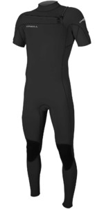 2021 O'Neill Mannen Hammer 2mm Chest Zip Korte Mouw Wetsuit 5056 - Zwart