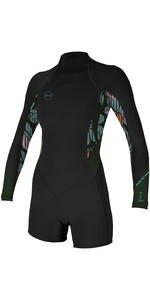 Bahia 2020 Delle Donne O'Neill 2/1mm Back Zip Manica Lunga Shorty Muta 5291 - Nero / Baylen / Scuro Olive