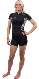 2021 O'Neill Womens Bahia 2/1mm Front Zip Shorty Wetsuit 5293 - Black / Baylen
