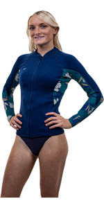2020 O'Neill Womens Bahia 1mm Full Zip Long Sleeve Neoprene Jacket 4933 - French Navy / Bridget