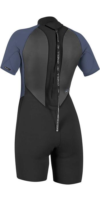 2021 O'Neills Frauen Reactor Ii 2mm Back Zip Shorty Wetsuit 5043 - Schwarz / Nebel