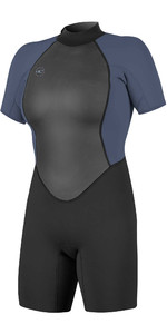 2021 O'Neills Frauen Reactor Ii 2mm Back Zip Shorty Wetsuit 5043 - Schwarz / Nebel