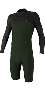 2020 De Los Hombres De O'Neill Hyperfreak 2mm Chest Zip Gbs Manga Larga Shorty Wetsuit 5004 - Oscuro Olive / Negro