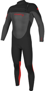 2020 O'neill Youth Epic 3/2mm Chest Zip Gbs Wetsuit 5357 - Preto / Graphite / Vermelho