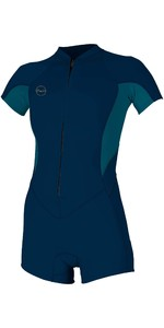 2020 O'neill Bahia Mulheres 2/1mm Front Zip Manga Comprida Shorty Wetsuit 5293 - Abyss / Navy Francesa