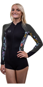 2021 O'Neill Womens Bahia 2/1mm Front Zip Long Sleeve Shorty Wetsuit 5363 - Black / Baylen / Dark Olive