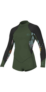 2020 O'Neill Youth Bahia 2/1mm Back Zip Long Sleeve Shorty Wetsuit 5411 - Dark Olive / Baylen / Black