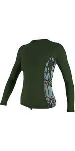 2020 O'Neill Womens Side Print Long Sleeve Rash Vest 5406S - Dark Olive / Baylen