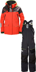2019 Helly Hansen Womens Skagen Offshore Jacket 33920 & Trouser 33921 Combi Set Alert Red / Ebony