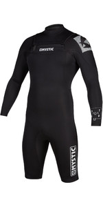 2021 Mystic De Los Hombres Star 3/2mm De Manga Larga Chest Zip Shorty Wetsuit 200063 - Negro