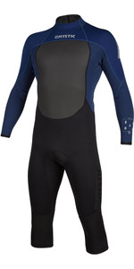 2020 Mystic Mens Brand 3/2mm Lang Kurzer Bein Arm Back Zip 200067 Wetsuit - Navy