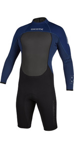 2021 Mystic De Los Hombres Brand 3/2mm De Manga Larga Back Zip Shorty Wetsuit 200069 - Navy