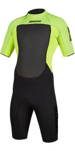 2020 Mystic Mens Brand 3/2mm Back Zip Shorty Wetsuit 200070 - Black / Lime