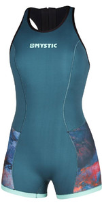 2020 Mystic Dames Diva 2mm Short Jane Wetsuit 200074 - Groenblauw