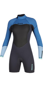2021 Mystic Womens Brand 3/2mm Long Sleeve Back Zip Shorty Wetsuit 200083 - Menthol Blue