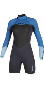 2020 Mystic Dames Brand 3/2mm Shorty Wetsuit Met Lange Mouwen En Back Zip 200083 - Mentholblauw