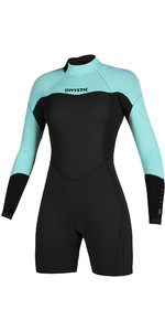 2020 Mystic Frauen Brand 3/2mm Lange Ärmel Back Zip Shorty 200083 Wetsuit - Mintgrün