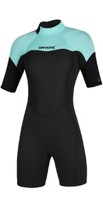 2020 Mystic Das Mulheres 3/2mm Back Zip Shorty Wetsuit 200084 - Verde Menta