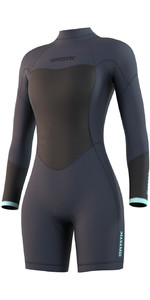2021 Mystic Womens Brand 3/2mm Long Sleeve Shorty Wetsuit 210322 - Night Blue