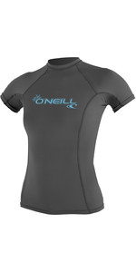 2019 O'Neill Womens Basic Skins Short Sleeve Crew Rash Vest Graphite 3548