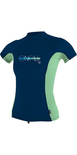 2019 O'Neill Girls Premium Skins à manches courtes Rash Vest Midnite Oil 4175