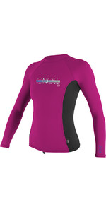 O'Neill Youth Girls Premium Skins Long Sleeve Rash Vest Berry / Black 4176