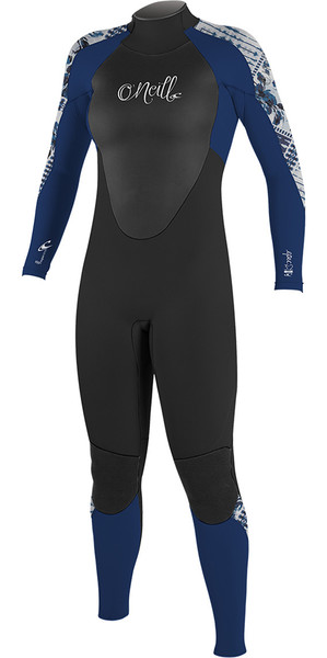 2018 O'Neill Womens Epic 4 / 3mm Back Zip GBS Muta Nera / Blu 4214