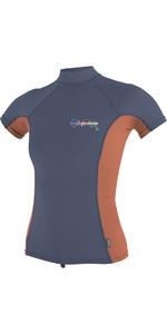 O'Neill Womens Premium Skins Short Sleeve Turtle Neck Rash Tee Mist / Coral 4519