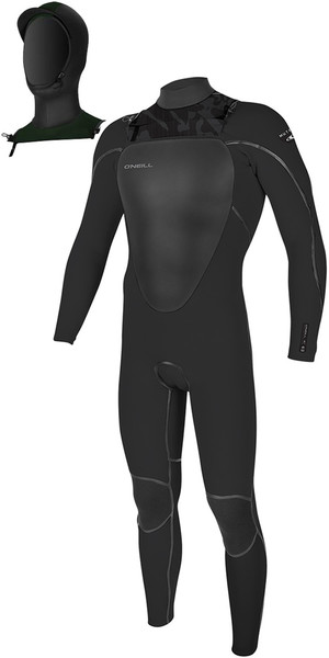 2019 O'Neill Mutant 5 / 4mm Hooded Zip Zip Wetsuit Jet Camo 4762