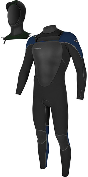 2018 O'Neill Mutant 5 / 4mm Hooded Chest Zip Wetsuit Zwart / Abyss 4762
