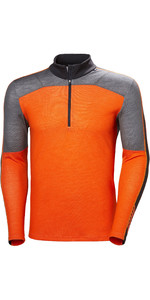2019 Helly Hansen Lifa Merino Max. Demi Haut Zippé Orange Gris 48318