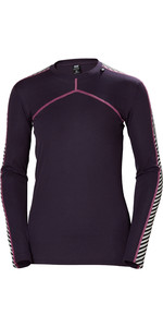 2019 Helly Hansen Donna Hh Lifa L / S Crew Base Layer Viola 48326