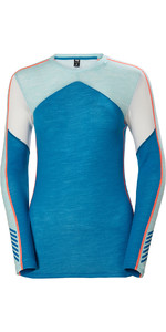 2019 Helly Hansen Womens HH Lifa Merino Crew Crew Base Layer Top Blue Wave 48341