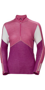 2019 Helly Hansen Womens HH Lifa 1/2 Zip Merino Crew Base Layer Festival fuchsia 48343