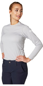 2019 Helly Hansen Womens Tech Crew Long Sleeve Base Layer Light Grey 48374