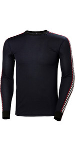 2019 Helly Hansen Lifa Stripe Crew Neck Base Layer Ls Top Navy 48800