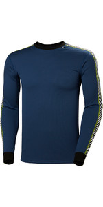 2019 Helly Hansen Lifa Stripe Crew Neck Base Layer LS Top North Sea Blue 48800