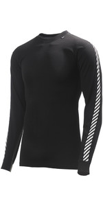 2019 Helly Hansen Lifa Gestreifte Crew Neck Base Layer LS Top Schwarz 48800