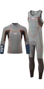 2021 Gill Dos Homens Zenlite 2mm Skiff Terno E 1.5mm Wetsuit Pacote Top - Cinza Aço