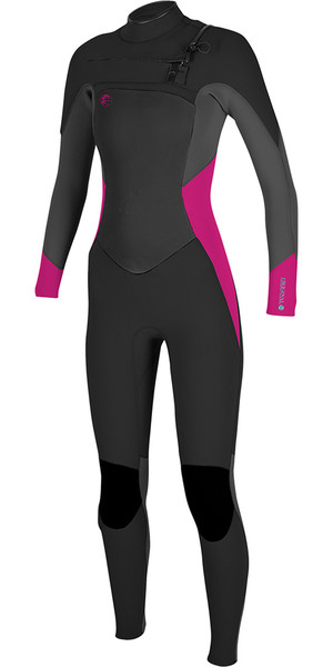 2018 O'Neill Womens O'riginal 4 / 3mm Chest Zip Wetsuit NEGRO / Berry 5015