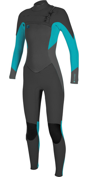 2018 O'Neill Womens O'riginal 4 / 3mm Chest Zip Wetsuit NEGRO / Breeze 5015