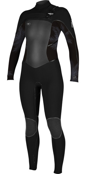 2018 O'Neill Womens Psycho Tech 4 / 3mm petto zip muta NERO / Mist 5029