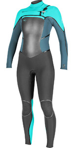 O'Neill Womensuit Psycho Tech 4 / 3mm Peito Zip Wetsuit PRETO / AZUL / SEAGLASS 5029