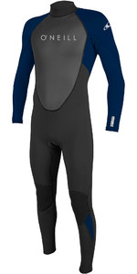 2021 O'neill Reactor De Homens Ii 3/2mm Back Zip Wetsuit Preto / Abyss 5040