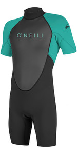 2019 O'Neill Youth Reactor II 2mm Back Zip Shorty Wetsuit Black / Aqua 5045