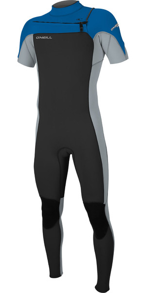 2019 O'Neill Mens Hammer 2mm Bryst Zip Short Sleeve Wetsuit Sort / Cool Grå / Ocean 5056
