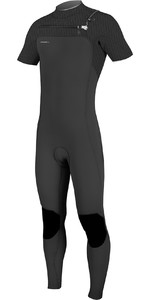 2019 O'Neill Herre Hyperfreak 2mm Bryst Zip Short Sleeve Wetsuit Black 5066