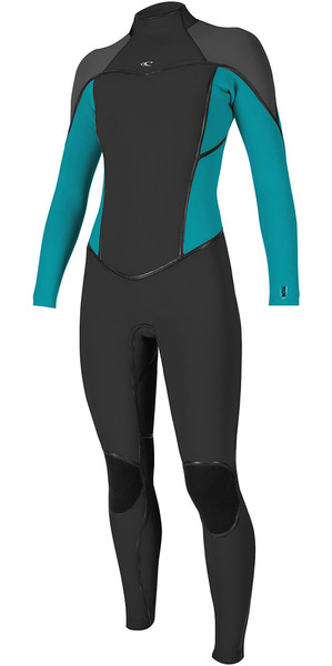 2019 O'Neill Womens Psycho One 4/3mm Back Zip Wetsuit BLACK / Breeze 5097